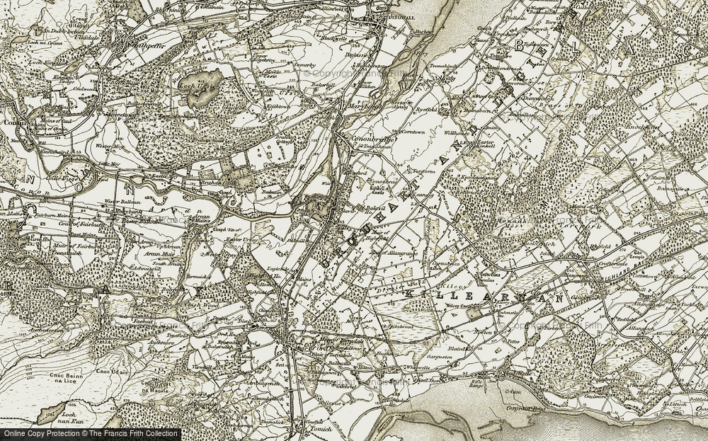 Old Map of Historic Map covering Balavil in 1911-1912