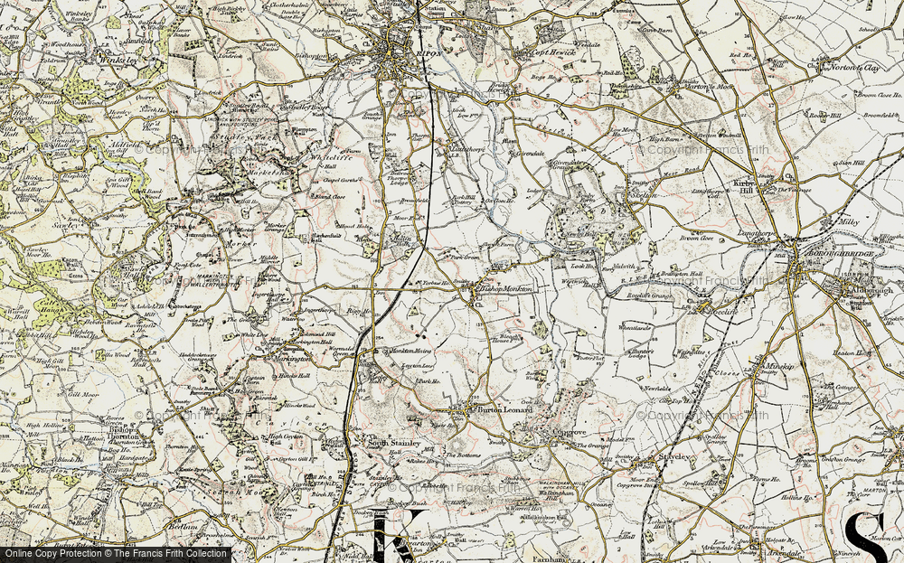 Old Map of Bishop Monkton, 1903-1904 in 1903-1904