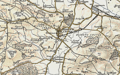 Old map of Bishop's Castle in 1902-1903