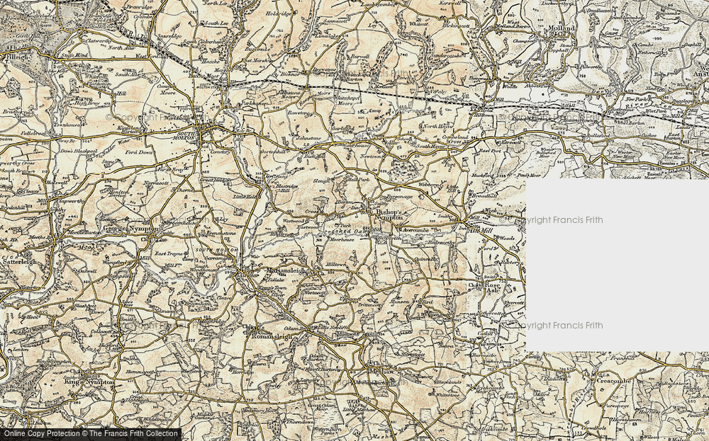 Old Map of Historic Map covering Avercombe in 1899-1900