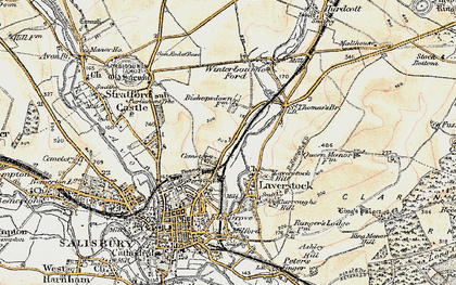 Old map of Bishopdown in 1897-1898