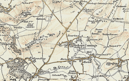 Old map of Bishops Cannings in 1898-1899