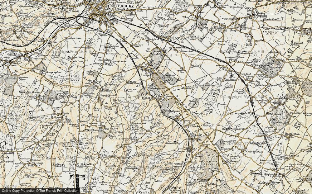 Old Map of Bishopsbourne, 1898-1899 in 1898-1899