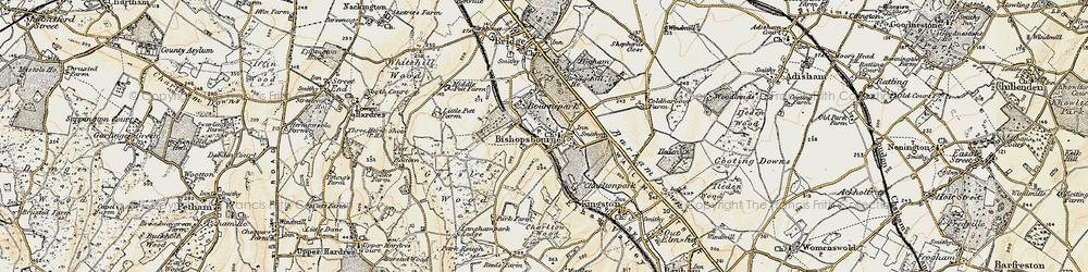 Old map of Bishopsbourne in 1898-1899