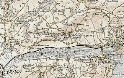 Old map of Bishopsteignton in 1899
