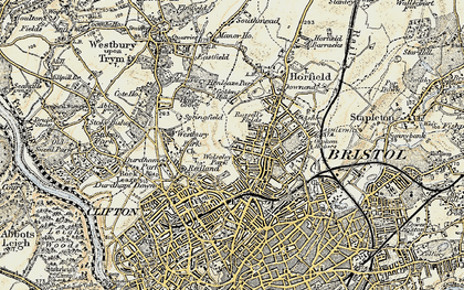 Old map of Bishopston in 1899