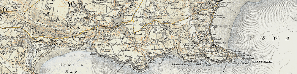 Old map of Bishopston in 1900-1901