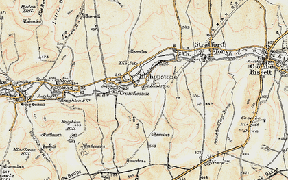Old map of Bishopstone in 1897-1909