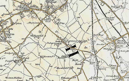 Old map of Bishopstone in 1898