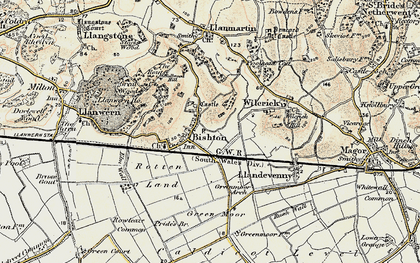 Old map of Bishton in 1899-1900