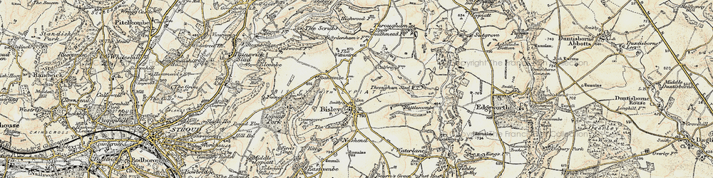 Old map of Bisley in 1898-1899