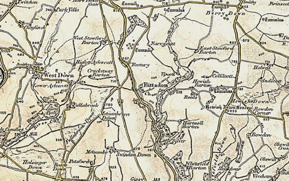 Old map of West Stowford Barton in 1900