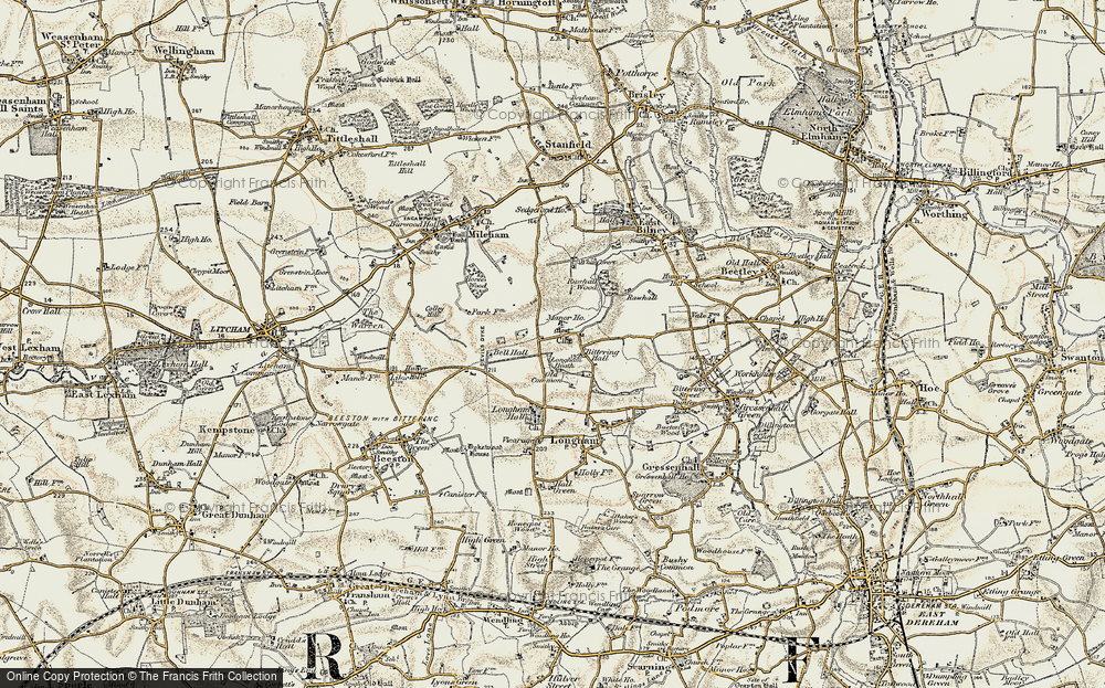 Old Map of Historic Map covering Launditch in 1901-1902