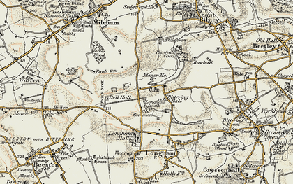 Old map of Launditch in 1901-1902