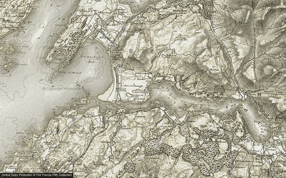 Old Map of Historic Map covering Abhainn Achnacree in 1906-1908