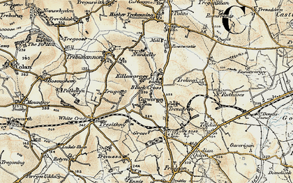 Old map of Black Cross in 1900