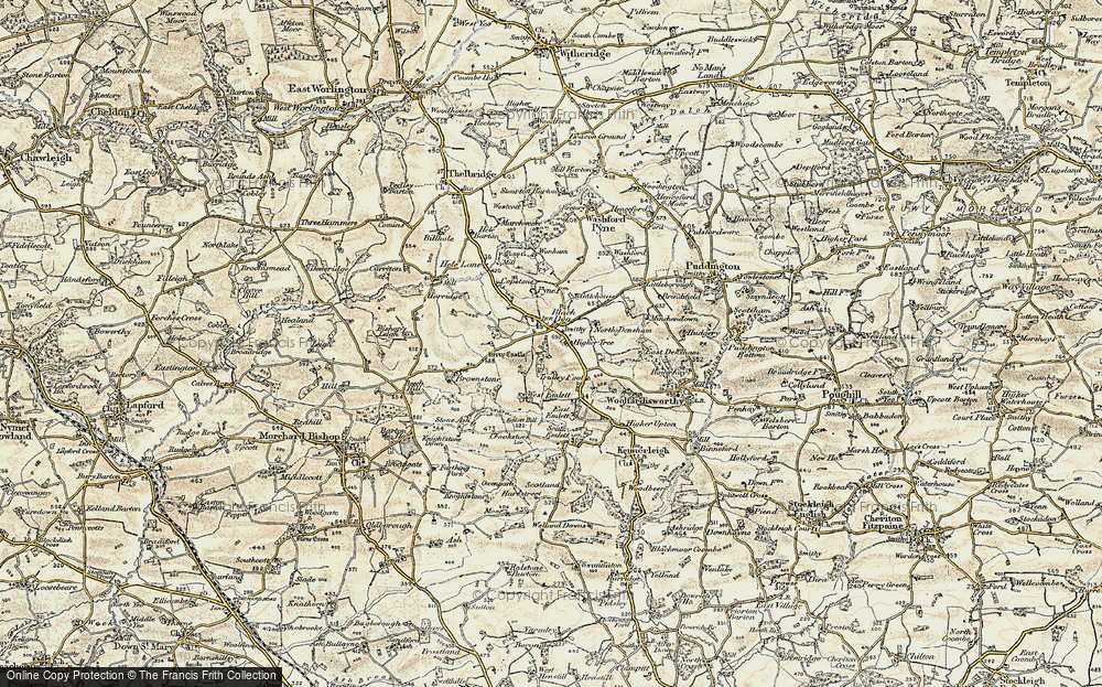 Old Map of Historic Map covering Wonham in 1899-1900