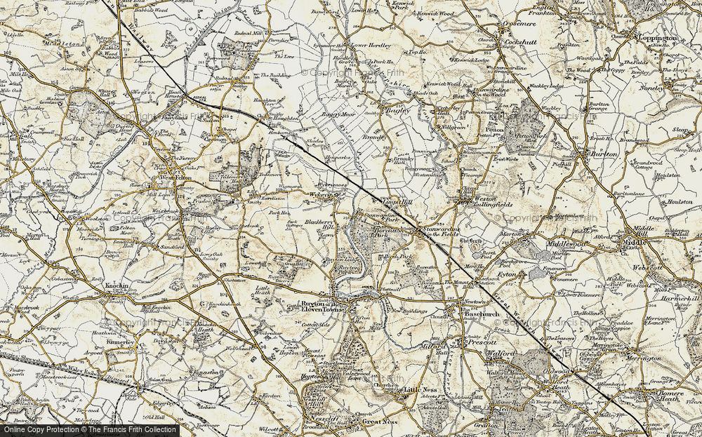 Old Map of Historic Map covering Limpit Hill in 1902