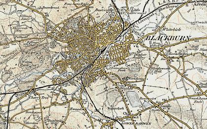Old map of Blackburn in 1903