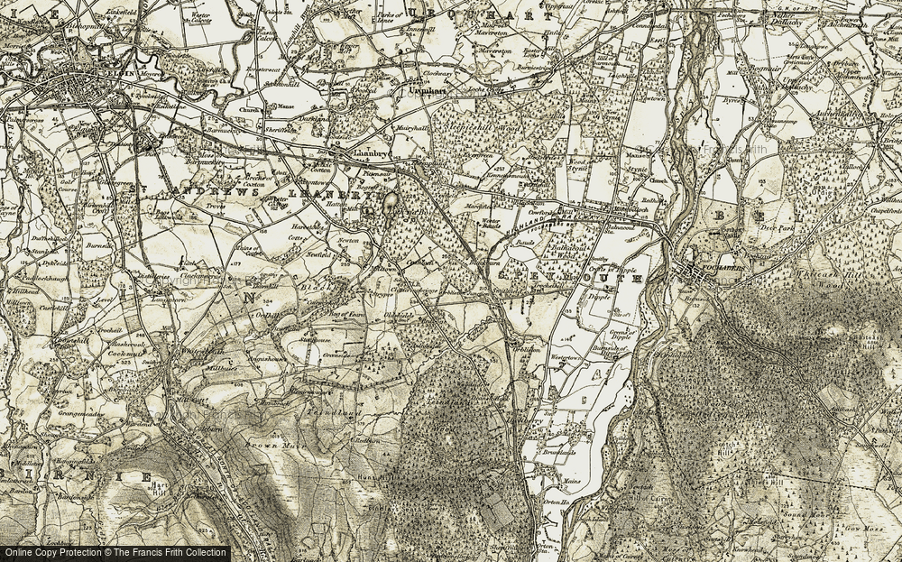 Old Map of Historic Map covering Badentinan in 1910