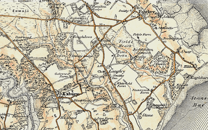 Old map of Badminston Common in 1897-1909