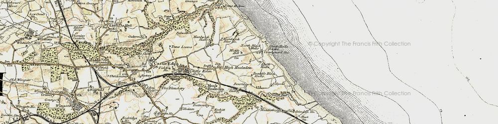 Old map of Blackhall Rocks in 1901-1904
