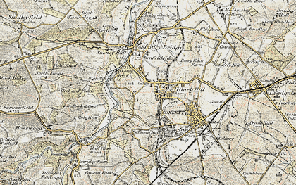 Old map of Blackhill in 1901-1904