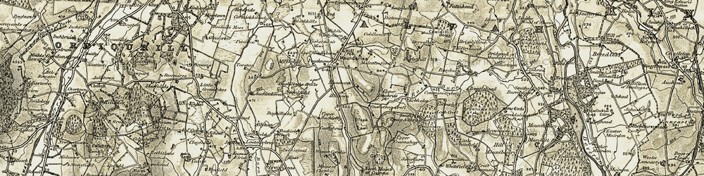 Old map of Hilltown in 1910
