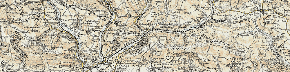Old map of Ynyslas in 1899-1900