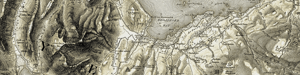 Old map of Allt a' Mhuillnn in 1906-1909
