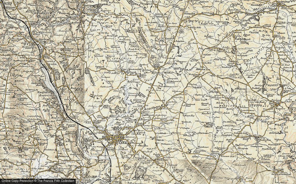 Old Map of Historic Map covering Tittesworth Reservoir in 1902-1903