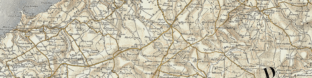 Old map of Afon Soden in 1901