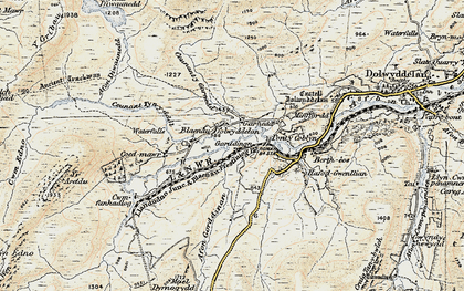 Old map of Afon Diwaunedd in 1903