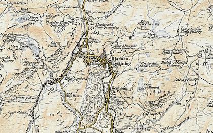 Old map of Blaenau Ffestiniog in 1903