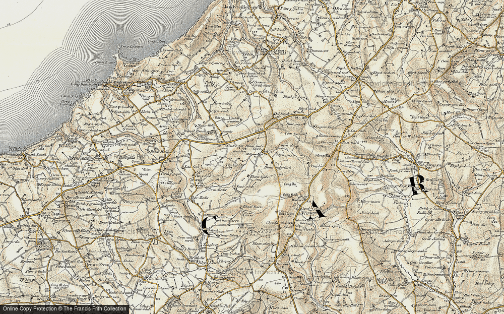 Old Map of Historic Map covering Afon Bedw in 1901
