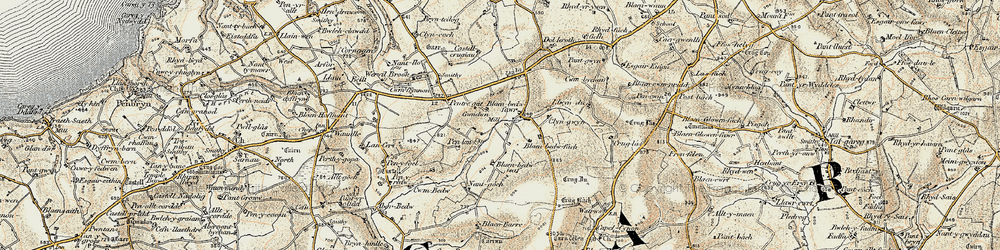 Old map of Afon Bedw in 1901