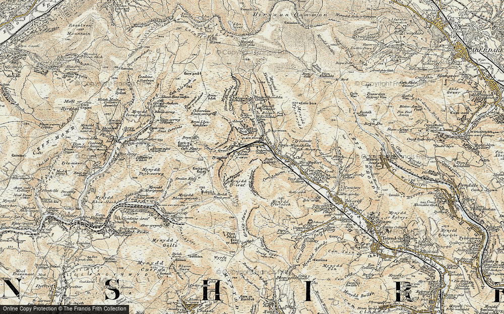 Old Map of Historic Map covering Bachgen Careg in 1899-1900