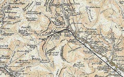 Old map of Bachgen Careg in 1899-1900
