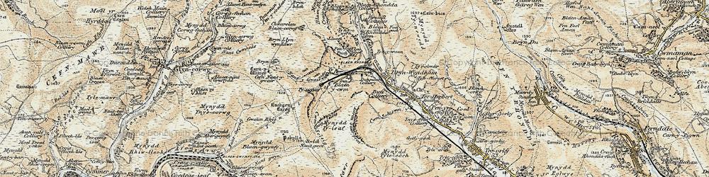 Old map of Blaencwm in 1899-1900