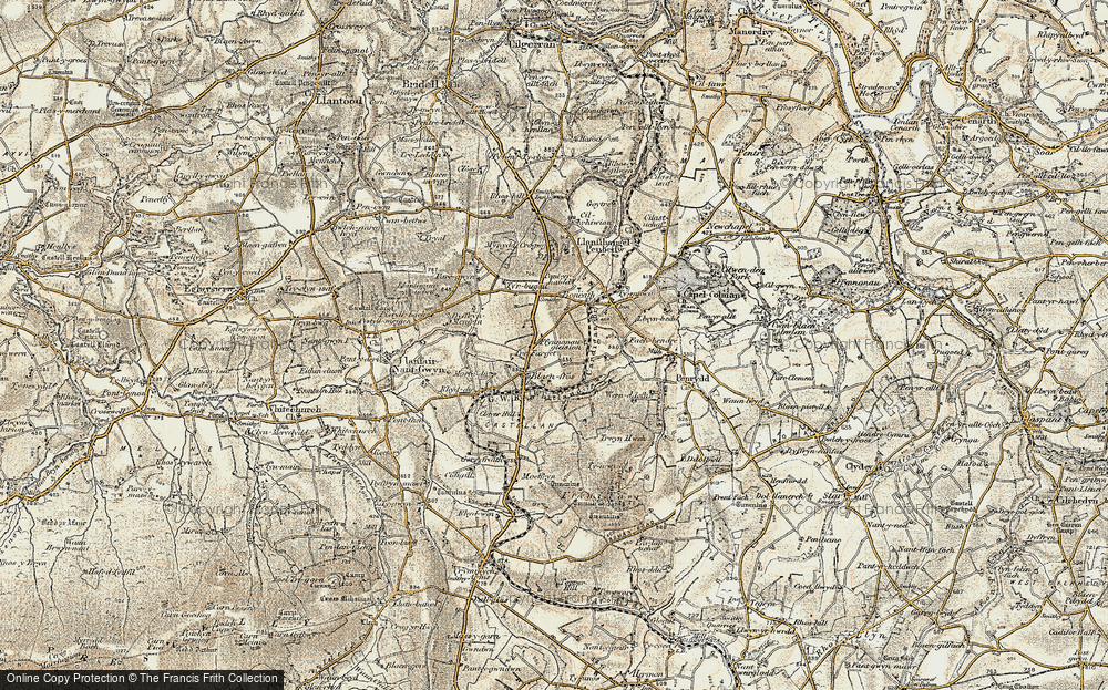 Old Map of Blaenffos, 1901 in 1901