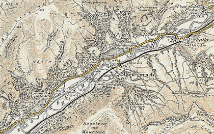Old map of Aber-pergwm Wood in 1900-1901