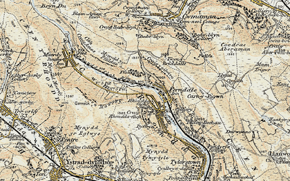 Old map of Blaenllechau in 1899-1900