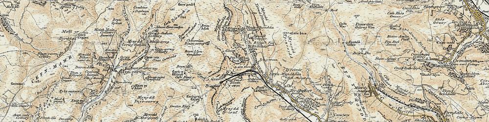 Old map of Blaenrhondda in 1899-1900