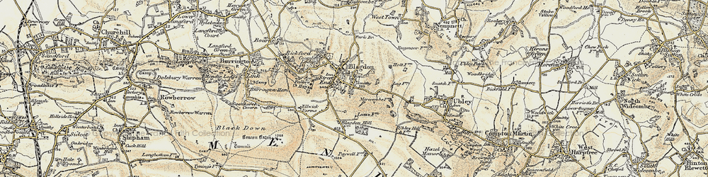 Old map of Blagdon in 1899