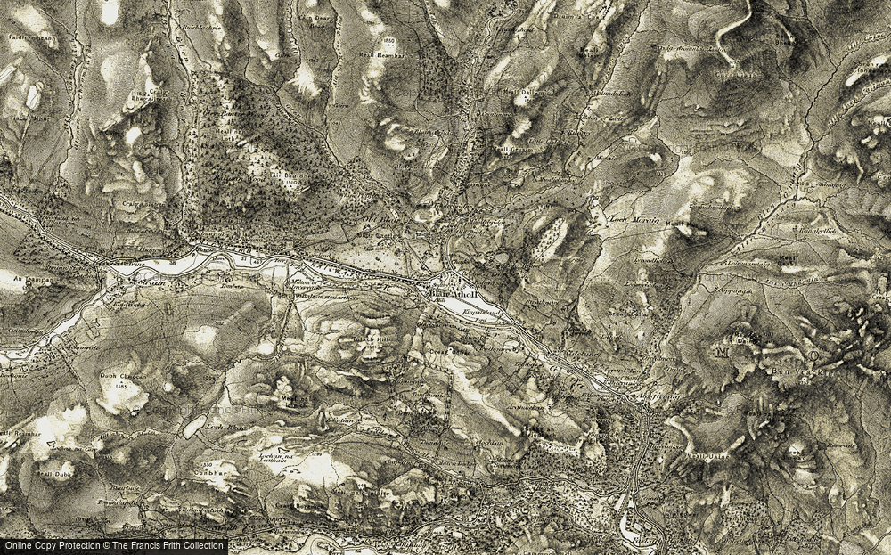 Old Map of Historic Map covering Tomanraid in 1906-1908
