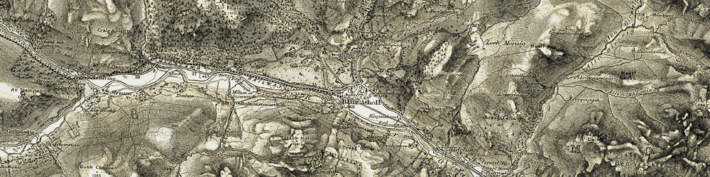 Old map of Blair Atholl in 1906-1908