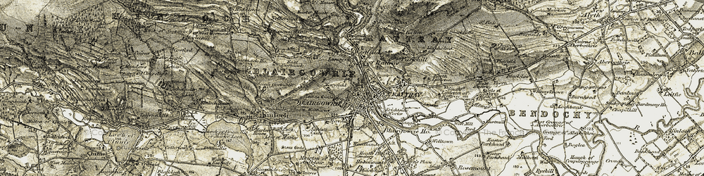 Old map of Blairgowrie in 1907-1908
