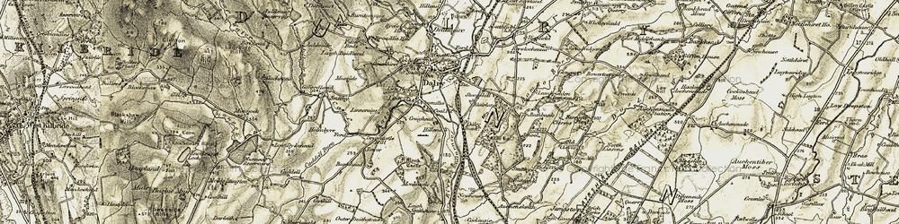Old map of Yonderhouses in 1905-1906