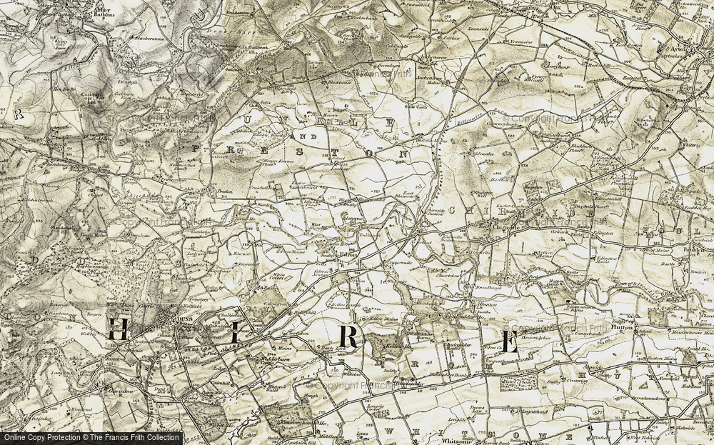 Old Map of Historic Map covering Lintlaw in 1901-1904