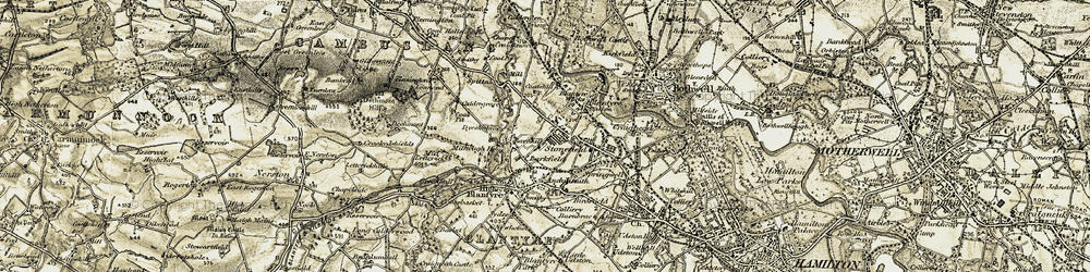 Old map of Blantyre in 1904-1905